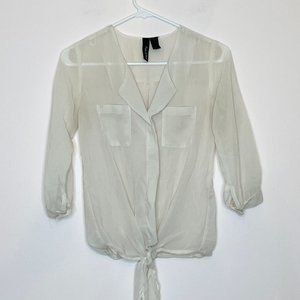 Fun & Flirt Sheer 3/4 Sleeve Tie Top Size X-Small